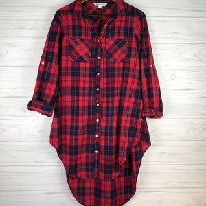 Davi & Dani Red Buffalo Plaid Tunic Dress, Sz M